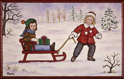 Sister Painting - Sledding by Linda Mears