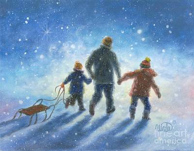 Dad Painting - Sledding With Dad by Vickie Wade