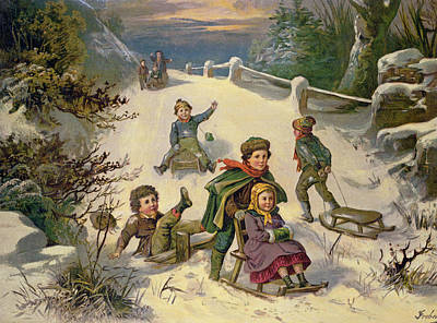 Sledging And Snowballing, 19th Century Art Print by Greben