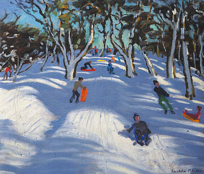 Piste Painting - Sledging At Ladmanlow by Andrew Macara