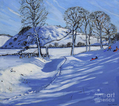 Winter Sports Painting - Sledging  Derbyshire Peak District by Andrew Macara