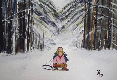 Sledging In The Wood Art Print