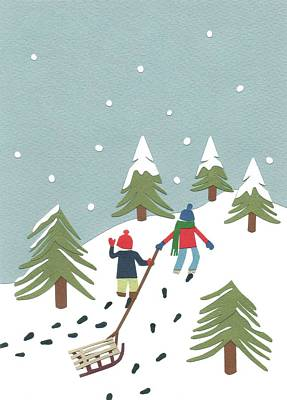 Winter-landscape Mixed Media - Sledging by Isobel Barber