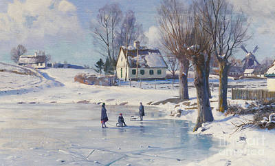 Scandinavian Painting - Sledging On A Frozen Pond by Peder Monsted