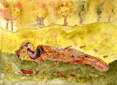 Painting - Sleep In A Hollow Log by Jim Taylor