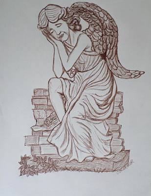 Angelic Drawing - Sleep In Heavenly Peace by Christy Saunders Church