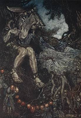 Woodlands Scene Drawing - Sleep Thou, And I Will Wind Thee by Arthur Rackham
