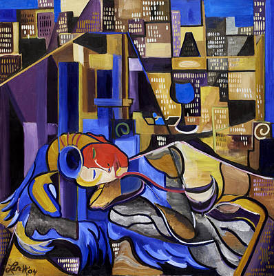 Cubist Painting - Sleeper In The City by Josh Lerch