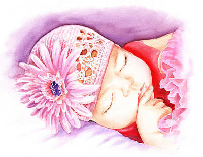 Florals Royalty-Free and Rights-Managed Images - Sleeping Baby by Irina Sztukowski