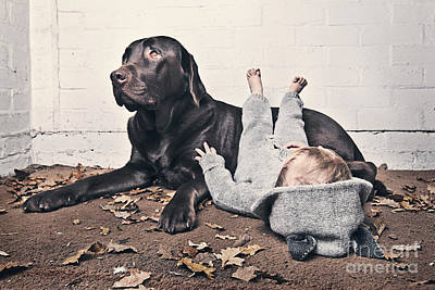 Pet Care Photograph - Sleeping Baby With Dog by Justin Paget