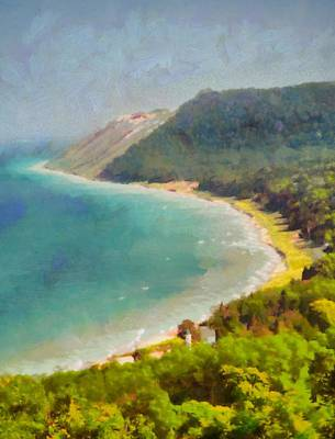 Great Mixed Media - Sleeping Bear Dunes Lakeshore View by Dan Sproul