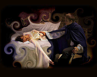 Sleeping Beauty And Prince Print by Angela Castillo
