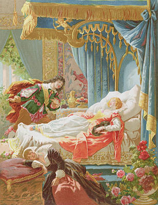 Magician Drawing - Sleeping Beauty And Prince Charming by Frederic Lix