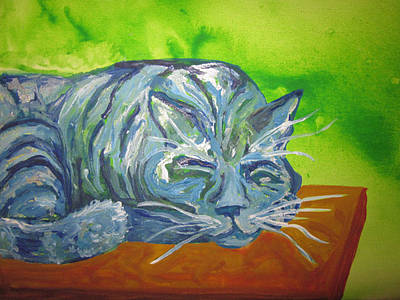 Painting - Sleeping Blue Cat by Cherie Sexsmith