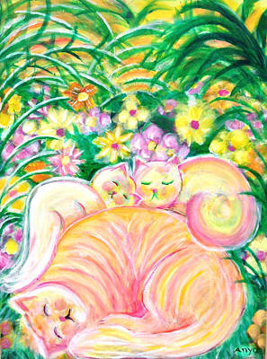 Art Print featuring the painting Sleeping Cats by Anya Heller