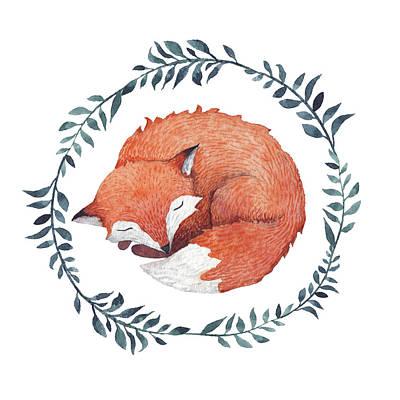 Digital Art - Sleeping Fox by Juliia Tochilina