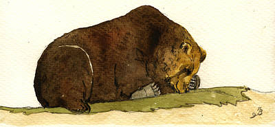 North America Painting - Sleeping Grizzly Bear by Juan  Bosco