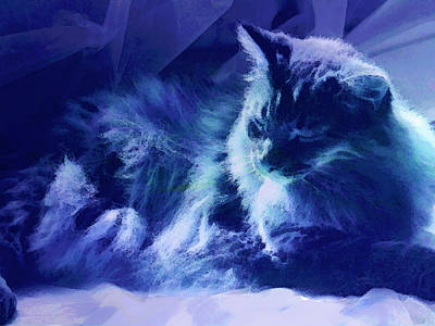Kitty Digital Art - Sleeping In The Sun by Ann Powell