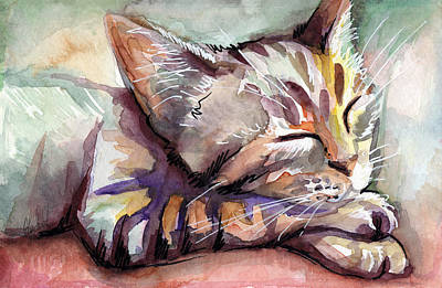 Watercolor Pet Portraits Painting - Sleeping Kitten by Olga Shvartsur
