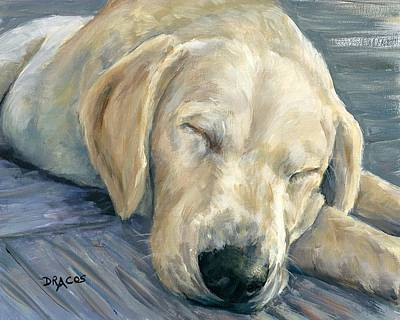 Lab Pup Painting - Sleeping Labrador Retriever Puppy by Dottie Dracos