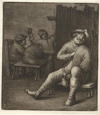Tankard Drawing - Sleeping Man In A Tavern, Jacob Hoolaart by Jacob Hoolaart