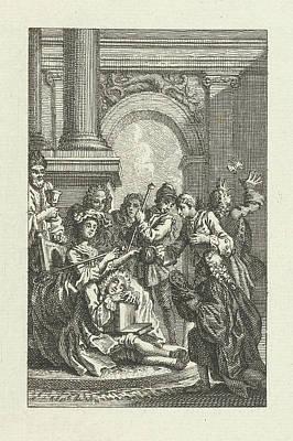 Sleeping Man Surrounded By Men, Jacob Folkema Art Print
