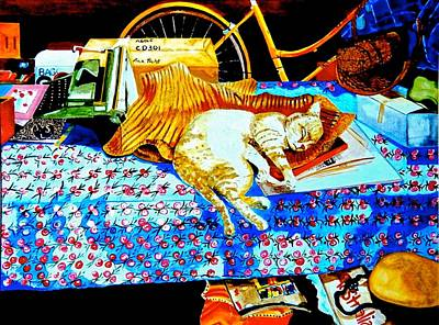 Mog Painting - Sleeping Moggie by Susan Robinson