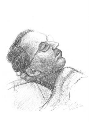 Drawing - Sleeping My Fathar by Prakash Leuva