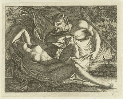 Sleeping Nymph Watched By A Satyr, Arnold Houbraken Art Print by Arnold Houbraken