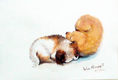 Sleeping Puppies Art Print
