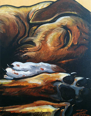 Painting - Sleeping Ridgeback by Ana Marusich-Zanor
