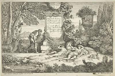 Sleeping Shepherdesses, Adriaen Van Der Kabel Art Print