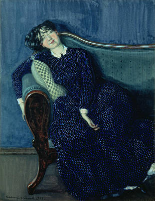 Drunk Photograph - Sleeping Woman In Blue, 1903 by Konstantin Andreevic Somov