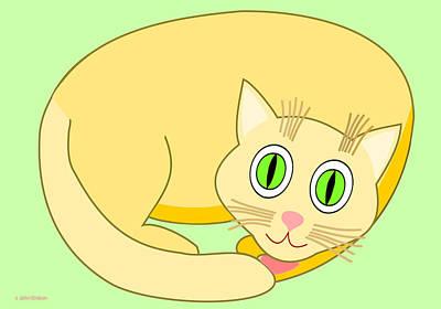 Sleeping Yellow Cat Art Print
