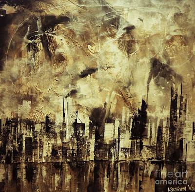 Ghetto Mixed Media - Sleepless Skyline by Kusum Vij