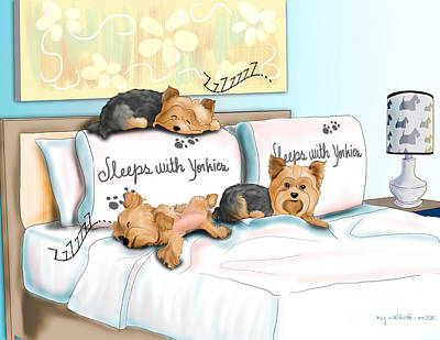 Mixed Media - Sleeps With Yorkies by Catia Cho