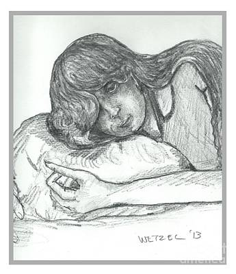 Drawing - Sleepy Beauty by Joseph Wetzel