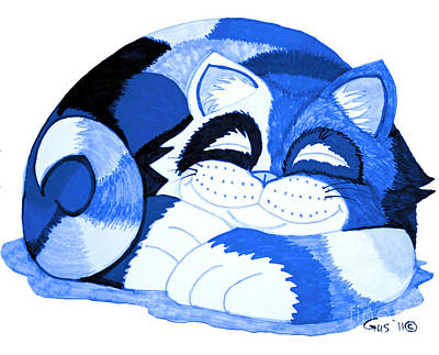 Sleepy Blue Cat Original by Nick Gustafson