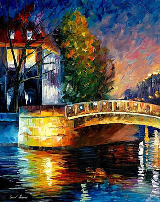 Sleepy Bridge - Palette Knife Oil Painting On Canvas By Leonid Afremov Original by Leonid Afremov