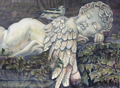 Cemetary Painting - Sleepy Cherub by Rayna DeHoog