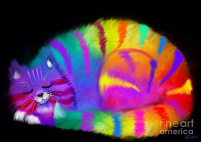 Kitty Digital Art - Sleepy Colorful Cat by Nick Gustafson