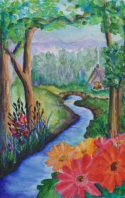 Sleepy Forest Cottage Art Print