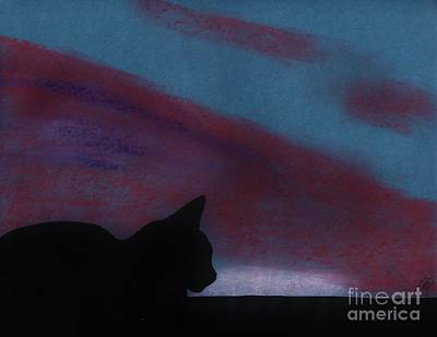 Drawing - Sleepy - Cat - Sunset by D Hackett