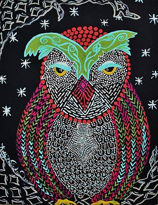Painting - Sleepy Owl by Kelly Nicodemus-Miller