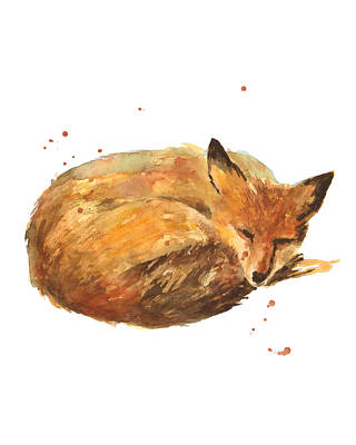 Foxes Painting - Sleepyhead by Alison Fennell