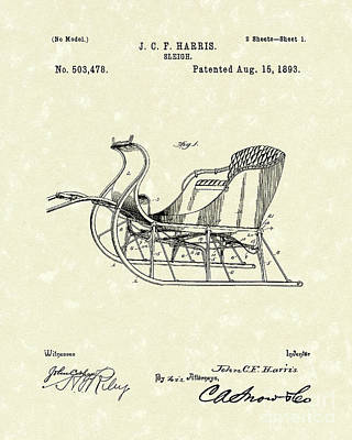 Drawing - Sleigh 1893 Patent Art by Prior Art Design