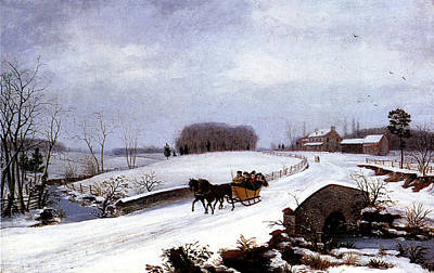 Horse Drawn Carriage Painting - Sleigh In Winter by Thomas Birch
