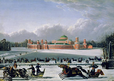 Race Horse Painting - Sleigh Race At The Petrovsky Park In Moscow by Golitsyn