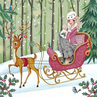 Girls Mixed Media - Sleigh Ride by Caroline Bonne-Muller