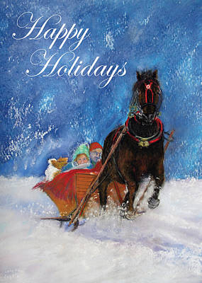 Painting - Sleigh Ride Holiday Card by Loretta Luglio